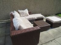 Rattan garden furniture set with corner sofa and glass top coffee table- New & Sealed
