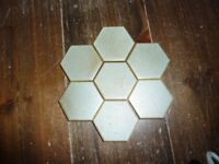 Vintage blue hexagon tiles