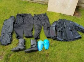 Motorcycle jacket, trousers and boots