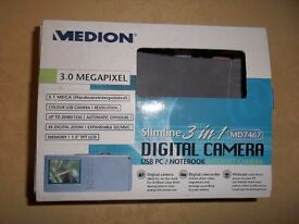 Medion 3.0 megapixel slimline 3 in 1 digital camera.