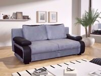 NEW DIFFERENT COLOURS -- HIGH QUALITY FABRIC + LEATHER 3 SEATER SOFA BED WITH STORAGE DOUBLE BED