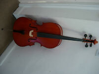 3/4 size cello with bow and case -superb tone, excellent condition 1/2 new price (£320 new)
