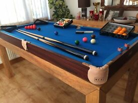 5ft BCE Tabletop Pool/Snooker Table with 2 sets balls, 2 cues, chalk, Excellent Condition