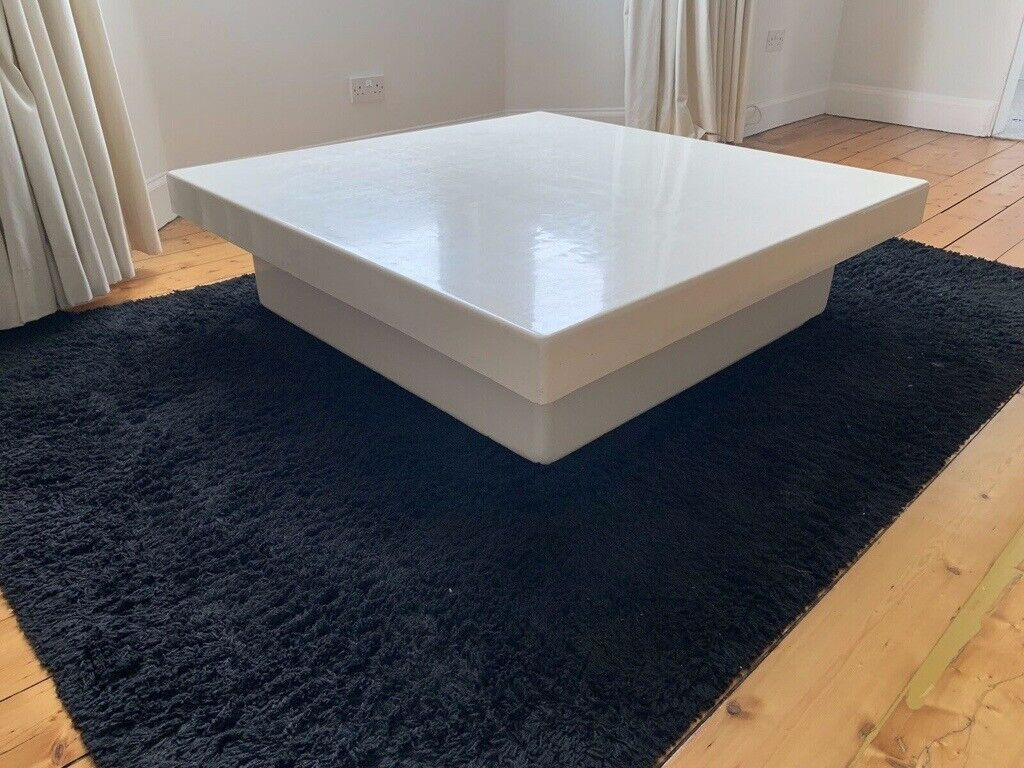 Free Large Square Cream Vintage Coffee Table With Storage