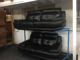 New/Ex Display Black Leather Geno 3 + 2 Seater Sofas