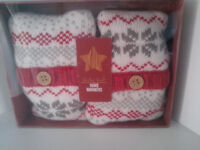 Argyll Knit Lavender Hand Warmers-Unused, Boxed & Sealed