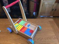 Sturdy ELC Wooden Boys & Girls Bricks Trolley with Bricks Set - GUC