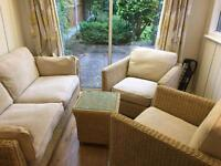 M&S sofa and 2 chairs and coffee table conservatory furniture