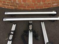 Roof bars, brackets and 3 x Thule 591 bike holders