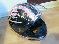 TUZO pink and black motorbike or scooter full face helmet size M