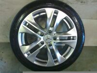 ALLOYS X 4 OF 17 INCH GENUINE MERCEDES C/CLASS/E/CLASS FULLY POWDERCOATED IN STUNNING SHADOWCHROME
