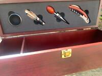 Burgundy wooden wine box 5 piece tool set. New.