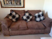 DFS brown two seater sofa bed