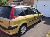Peugeot 206estate 12months mot service history cheap on fuel tax £30 a year £695ono