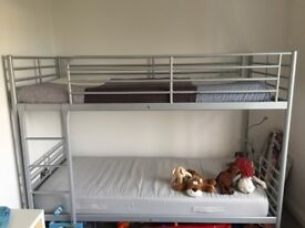 Ikea Svarta bunk bed frame with optional two matresses
