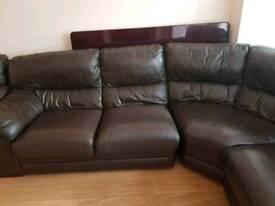 Brown leathers corner sofa