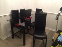 Glass dining table & 6 leather chairs