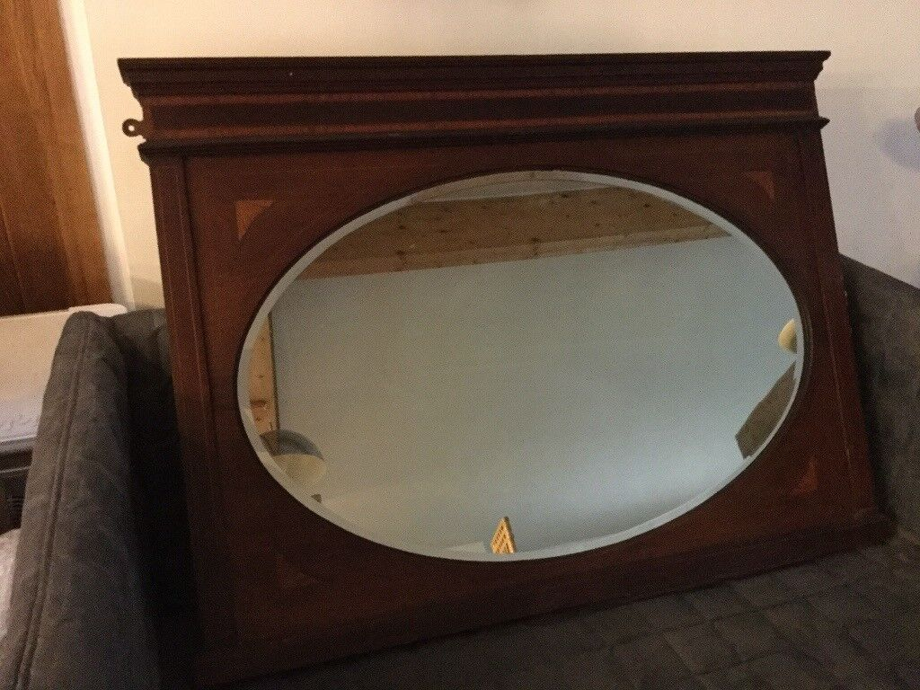 LARGE INLAID OVAL BEVEL EDGED MIRROR