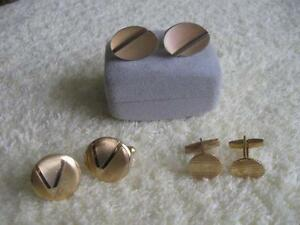 THREE PAIRS of MEN'S DRESSY GOLD-TONE CUFF LINKS...