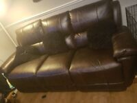 Dfs brown leather recliner 3 and chair