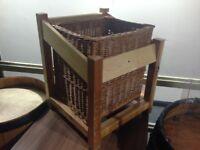 Unique Wicker Basket With Wooden Frame - Produce Display & Storage (55cm x46cm x45cm) - MUST GO