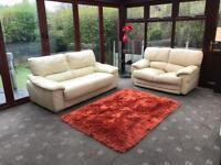 Cream Leather 3 Seater Sofa + Free 2 Seater Sofa