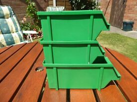 THREE PLASTIC STACKING DRAWS OR BOXES