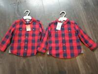 2-3 years boys red checked shirts x2 new with tags