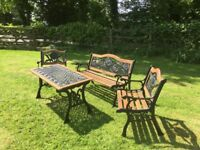 Refurbished Old Cast Iron & Wooden Patio Set