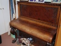 19TH century upright piano, claw feet, walnut, beautiful, not concert pitch
