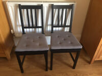 2 IKEA chairs with seat covers