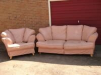 large leather sofa and 1 leather chair mint condition salmon colour