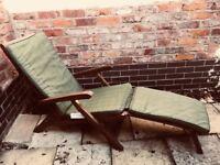 Wooden garden reclining chair and cushion