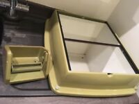 Genuine 1960's Avacado mirrored wall cabinet and toilet roll holder