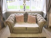 3 + 2 seater chesterfield fabric sofa .. 2years old excellent condition