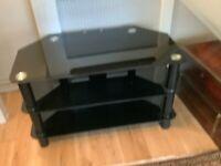 Corner black glass tv table