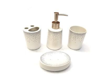 4 Piece Elegant Ceramic Bathroom Accessory Set - Geometric Design - Silver Dots