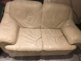 Cream Faux Leather - 2 seater sofa