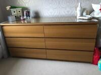 Ikea oak Veneer double chest of drawers