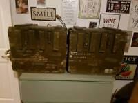 WW1 ammo boxes vintage war memorabilia steampunk