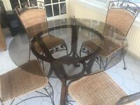 CONSERVATORY TABLE AND 4 CHAIRS