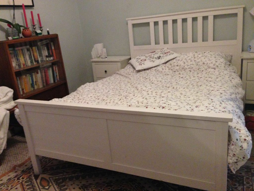 Ikea hemnes bed and ergoflex memory foam mattress in v for Beds on sale ikea