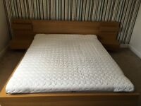 Ikea Malm Oak King Size Bed Frame + 2 Bedside Tables + Mattress + Protector