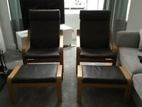 A pair of IKEA brown leather and oak chairs and footstools - as new