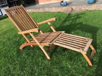 @@SUPERB RECLINING SOLID WOOD GARDEN CHAIR AND TABLE@@