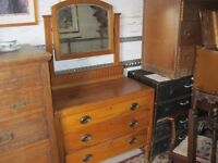 VINTAGE ORNATE SATINWOOD PINE DRESSING TABLE & MATCHING MIRROR. ATTRACTIVE. VIEW/DELIVERY AVAILABLE