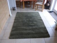Rectangular High Pile Rug - 133cm by 195cm - Adum by Ikea - Olive Green - In very good condition