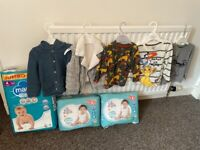 Baby clothes and nappies