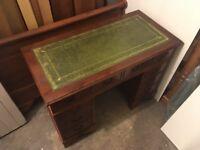 Mahogany pedestal desk, leather top