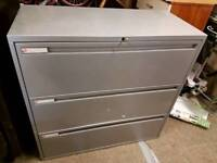 Storage / Filing Cabinet- 3 Drawer Quality Solid Grey Metal Storage / Filing Cabinet with key